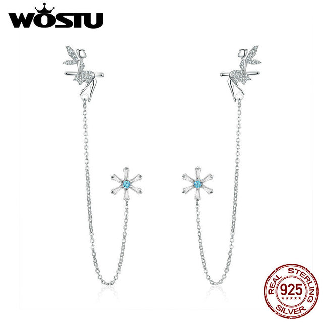 WOSTU 100% 925 Sterling Silver Fairy & Flower Long Line Earrings For Women Zircon Wedding Engagement Earrings Jewelry CTE201