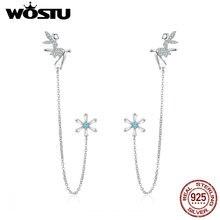 Wostu 100% 925 prata esterlina fada & flor longa linha brincos para mulheres zircon casamento noivado brincos jóias cte201