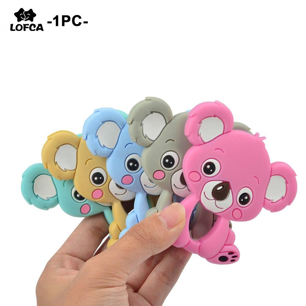Силиконовый Прорезыватель для зубов LOFCA Koala, детская игрушка для прорезывания зубов без BPA, мягкий жевательный Прорезыватель для зубов с цеп...