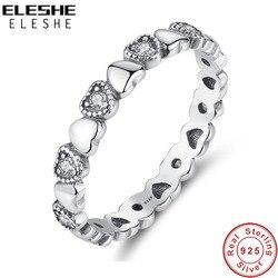 Eleshe Echt 925 Sterling Zilveren Fijne Ring Stapelbaar Hart Clear Cz Vinger Ringen Voor Vrouwen Wedding Engagement Sieraden 2020