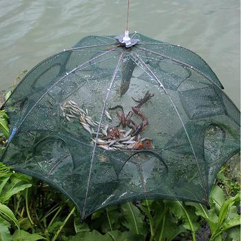 Wzmocniona 4-8 otworów automatyczna sieć rybacka klatka dla krewetek nylonowa składana pułapka na ryby obsada netto obsada składana sieć rybacka tanie i dobre opinie Sfit CN (pochodzenie) Multifilament Małe oczka 61cm Podwójne 0 5mm Drive-in netto 72cm 90cm