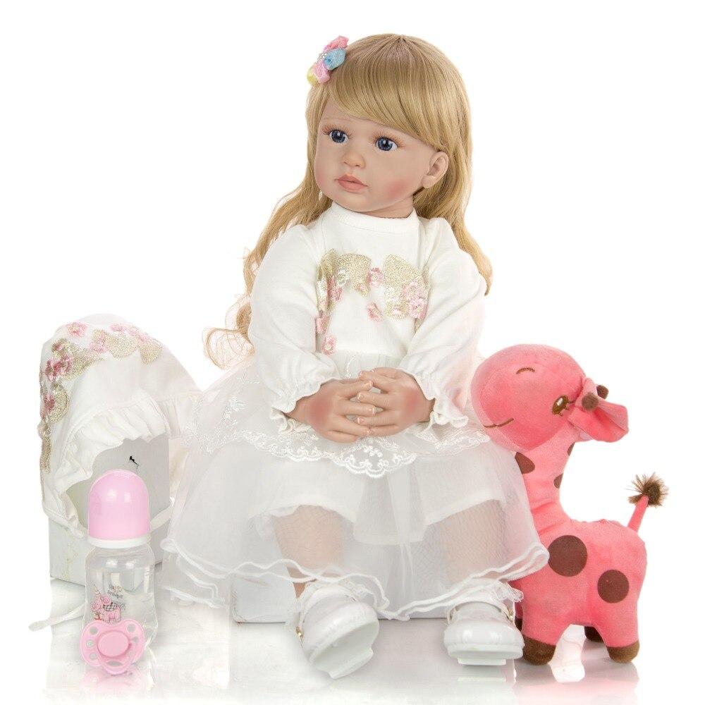 60cm Silicone Reborn bébé poupée jouets 24 pouces vinyle princesse rebornbambin bebe poupées lol cadeau d'anniversaire présent enfant jouets