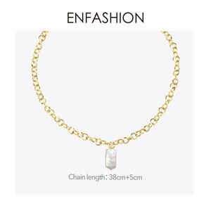 Image 4 - Enfashion boho concha corrente colar feminino ouro cor instrução natural mãe de pérola colares de aço inoxidável jóias p193025