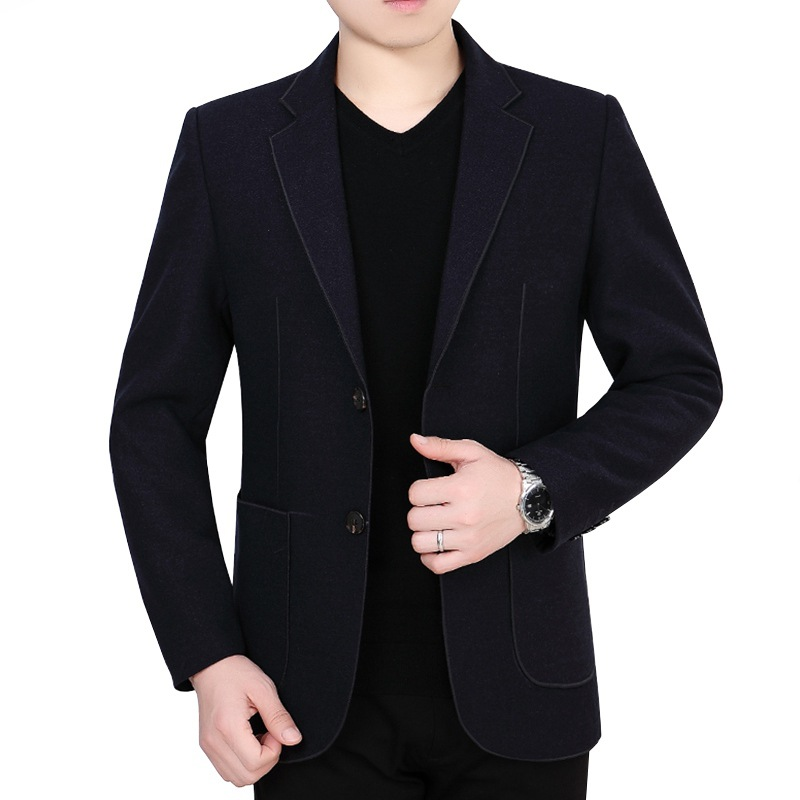 Autumn Clothing Men Suit Middle-aged Daddy Clothes Business Casual Spring And Autumn One-Piece No Ironing Solid Color Suit Men's
