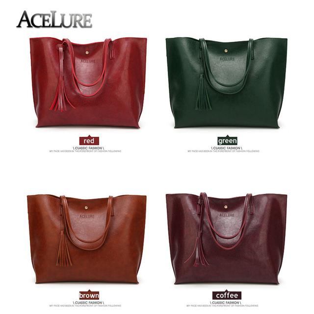 ACELURE Winter Women Bag Tassel Luxury Handbags Large Capacity Women Shouilder Bag Ladies Hasp Oil Wax Leather women Handbags