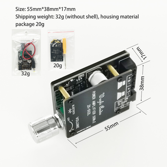 MINI Bluetooth 5.0 Wireless Audio Digital Power amplifier Stereo board 50Wx2 Bluetooth Amp Amplificador ZK-502L