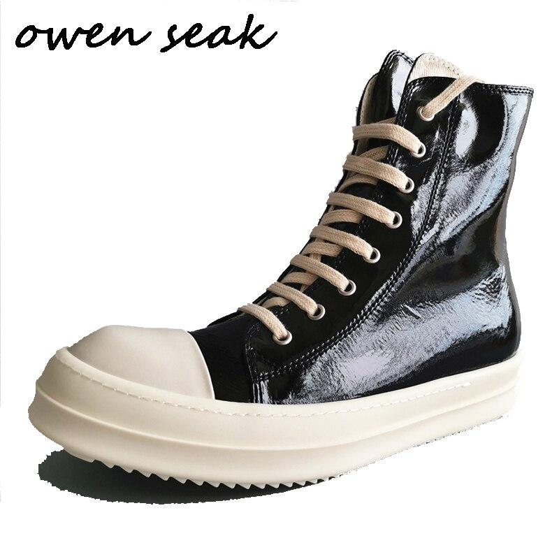 19ss Owen Seak męskie codzienne buty płócienne wysokiej góry kostki zasznurować luksusowe trenerów Sneakers buty marki Zip mieszkania buty duży rozmiar w Męskie nieformalne buty od Buty na  Grupa 1