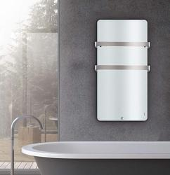 Electric Bathroom Radiator Panel Heater with Two Towel Rails Wall Mounted