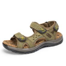 Nowe męskie sandały sandały gladiatorki sandały plażowe wysokiej jakości wygodne sandały z prawdziwej skóry letnie buty męskie 38-48 tanie tanio siddons CN (pochodzenie) Skóra bydlęca Mesh LEISURE RUBBER Hook loop Niska (1 cm-3 cm) Pasuje prawda na wymiar weź swój normalny rozmiar