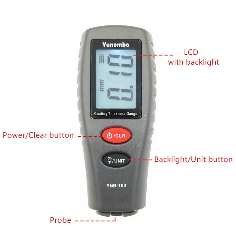 Medidor de espesor pantalla LCD Digital espesor de pintura de coche
