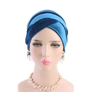 Image 4 - Women Velvet Muslim Cap Turban Headscarf With Pearl Middle East Bandanas Hijab India Cap Autumn Winter Head Wrap Long Tail