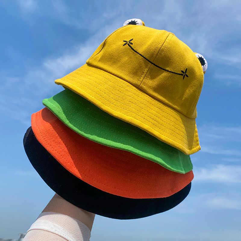 Vert et jaune Boji Chapeau de p/êcheur grenouille pour adultes Joli chapeau de grenouille Chapeau de soleil en coton Pour adultes et femmes