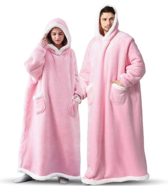 Super Long Flannel Blanket with Sleeves Winter Hoodies Sweatshirt Women Men Pullover Fleece Giant TV Blanket Oversized WF032 2