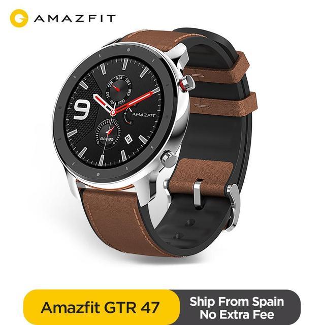 Корабль из Испании Amazfit GTR 47 мм Смарт-часы 5ATM водонепроницаемые умные часы 24 дня батарея GPS управление музыкой кожаный силиконовый ремешок