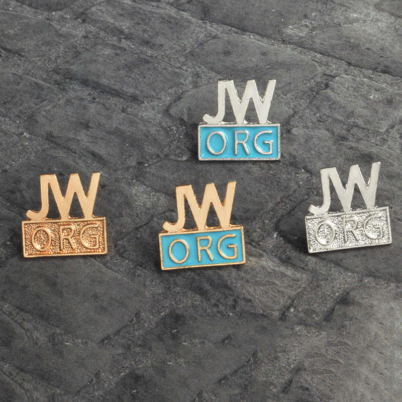 Broches de oro plateado azul JW. Adornos de joyería Unisex con insignias de solapa ropa de mezclilla