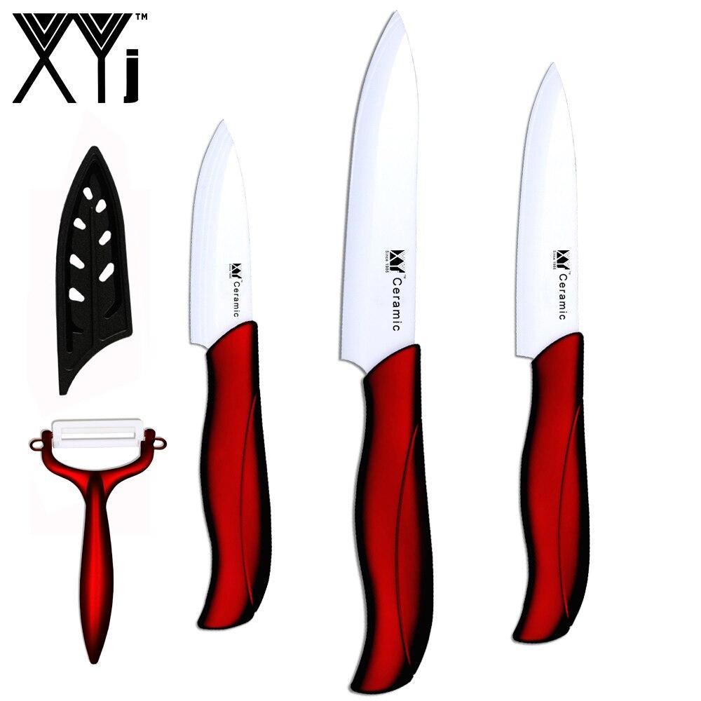 XYj juego de buena calidad los cuchillos de cerámica de cocina útil, para cortar cuchillos de tres piezas conjunto de cuchillos de cocina Nuevo rojo de cuchillos de cocina