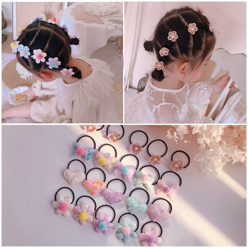 10 Pieces / Set Girls' Lovely Cartoon Flowers Butterfly Elastic Hair Hoop Head Rope Ponytail Holder Children's Hair Ornament Hai