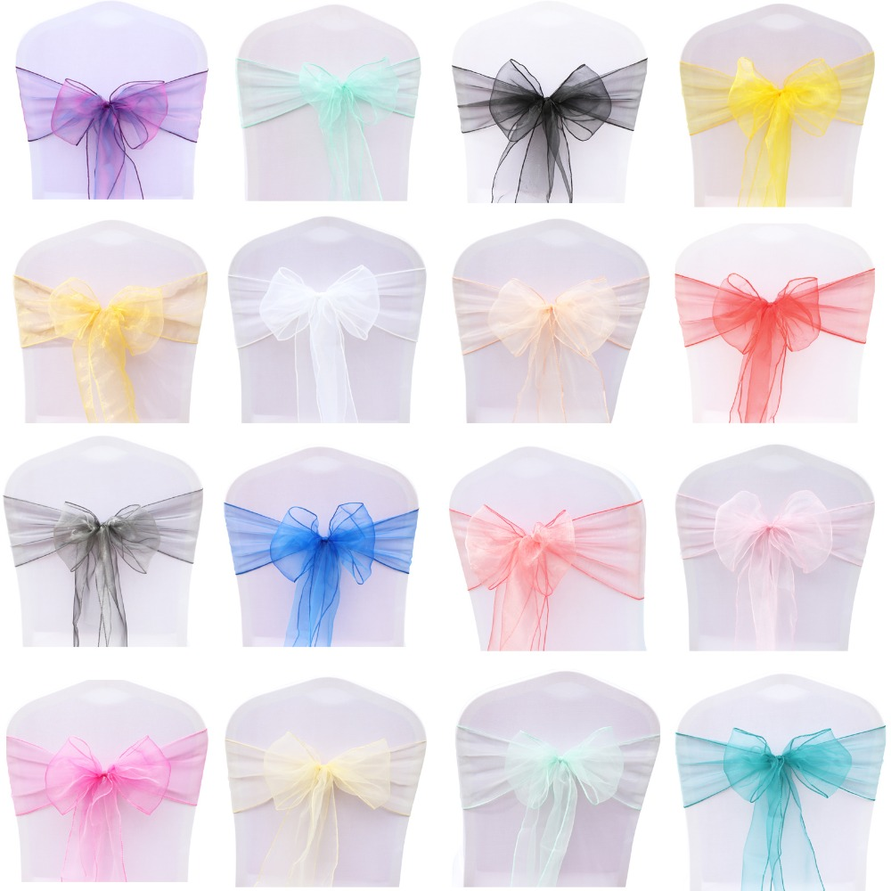 100pcs/set Organza High Quality Chair Sashes Wedding Chair Knot Cover Decoration Chairs Bow Band Belt Ties For Weddings Banquet