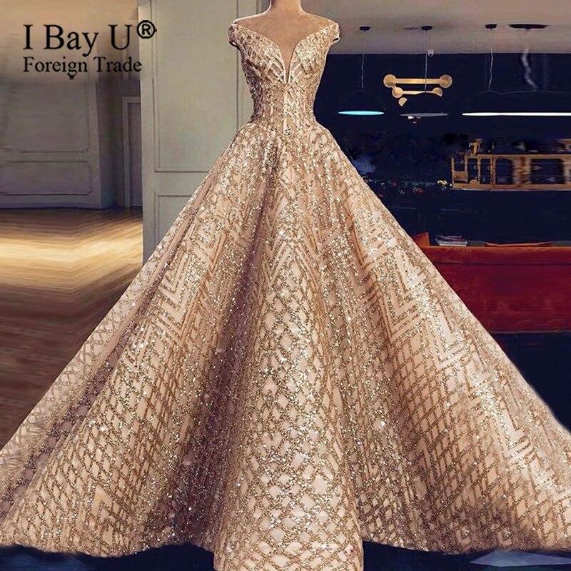 Gold Gitter Lace Empire Waistline Wedding Dresses Vestidos De Novia 2020 Arabic Luxury Lace Wedding Dress Wedding Bridal Gowns