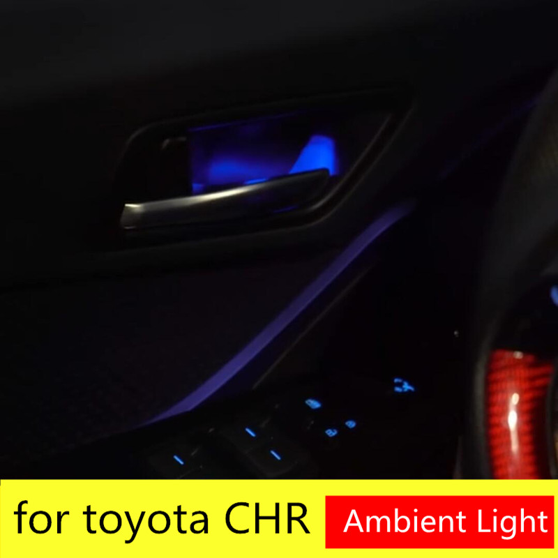 Светильник с ручкой для передней и задней двери для Toyota CHR 2018 красный и синий светильник для дверей Toyota C-HR 2017 2018 2019