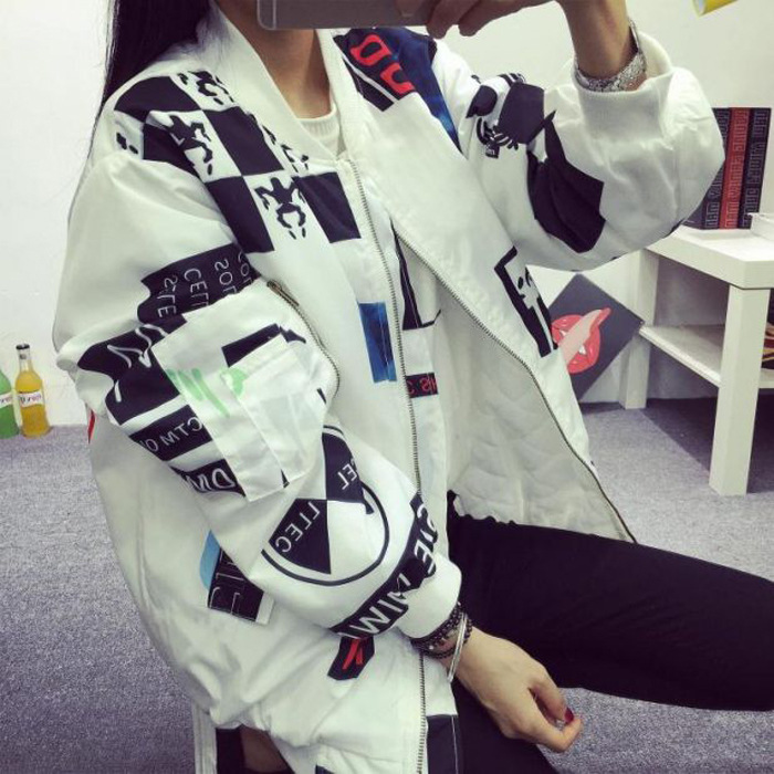 Kpop BIGBANG South Korea Ulzzang Quan Zhilong With The Head Wind BF Harajuku Graffiti Letters Baseball Coat And Lovers -kpop GD