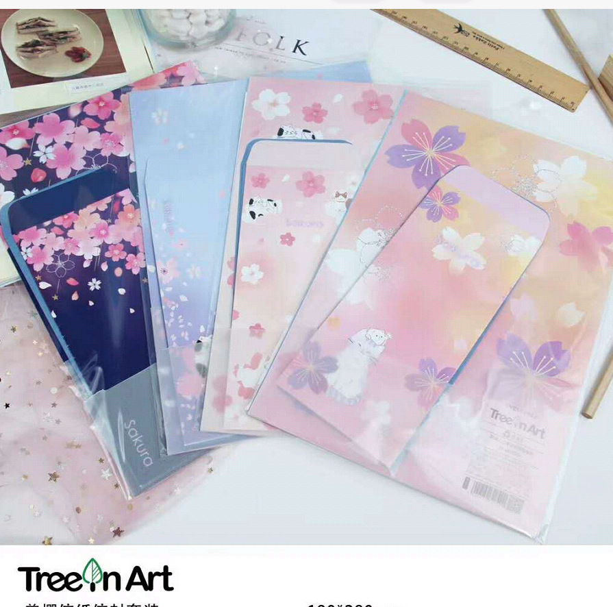 Sakura Envelope Writing Letter Paper Set US Cherry Office School Stationery Beautiful Flower Cute Cat Lover Messege Mail Holder