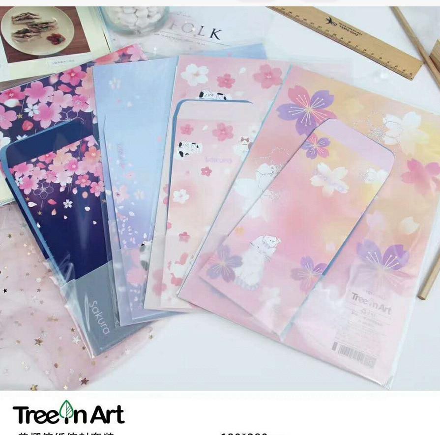 Sakura Envelope Writing Letter Paper Set US Cherry Office School Stationery Beautiful Flower Cute Cat Lover Messege Mail Holder