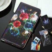 Para dexp a340 a350 al350 bl155 bl160 as155 bl350 g450 mix doogee n20 pro elephone px pro pu pintado flip capa slot caso de telefone