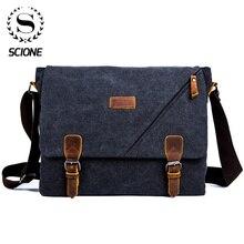 Scione męskie torby teczka Vintage Canvas torby na ramię moda torby Crossbody dla mężczyzn torba