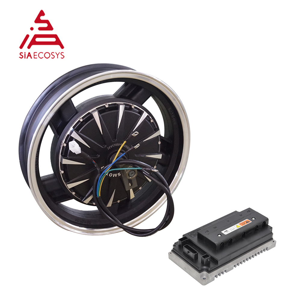 QSMOTOR 16X3.5inch 3000W V1.2 72V 90kph Electric Motorcycle Hub Motor Kits Electric Power Train With Motor Controller