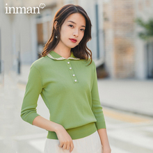 INMAN 2020 Spring New Arrival Literary Style Doll Collar Beaded Button Women Top Knitwear Sweater