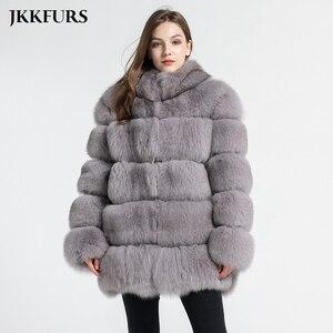 Image 3 - Kadın gerçek tilki kürk ceket moda stil 2019 yeni gelenler yüksek kalite kış kalın sıcak kürk ceket giyim S7362