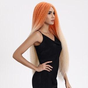 "Image 4 - 魔法の髪合成レースフロントウィッグ黒人女性のための 38 ""インチ耐熱ウィッグ編組髪緑ピンクレースかつら人工毛"