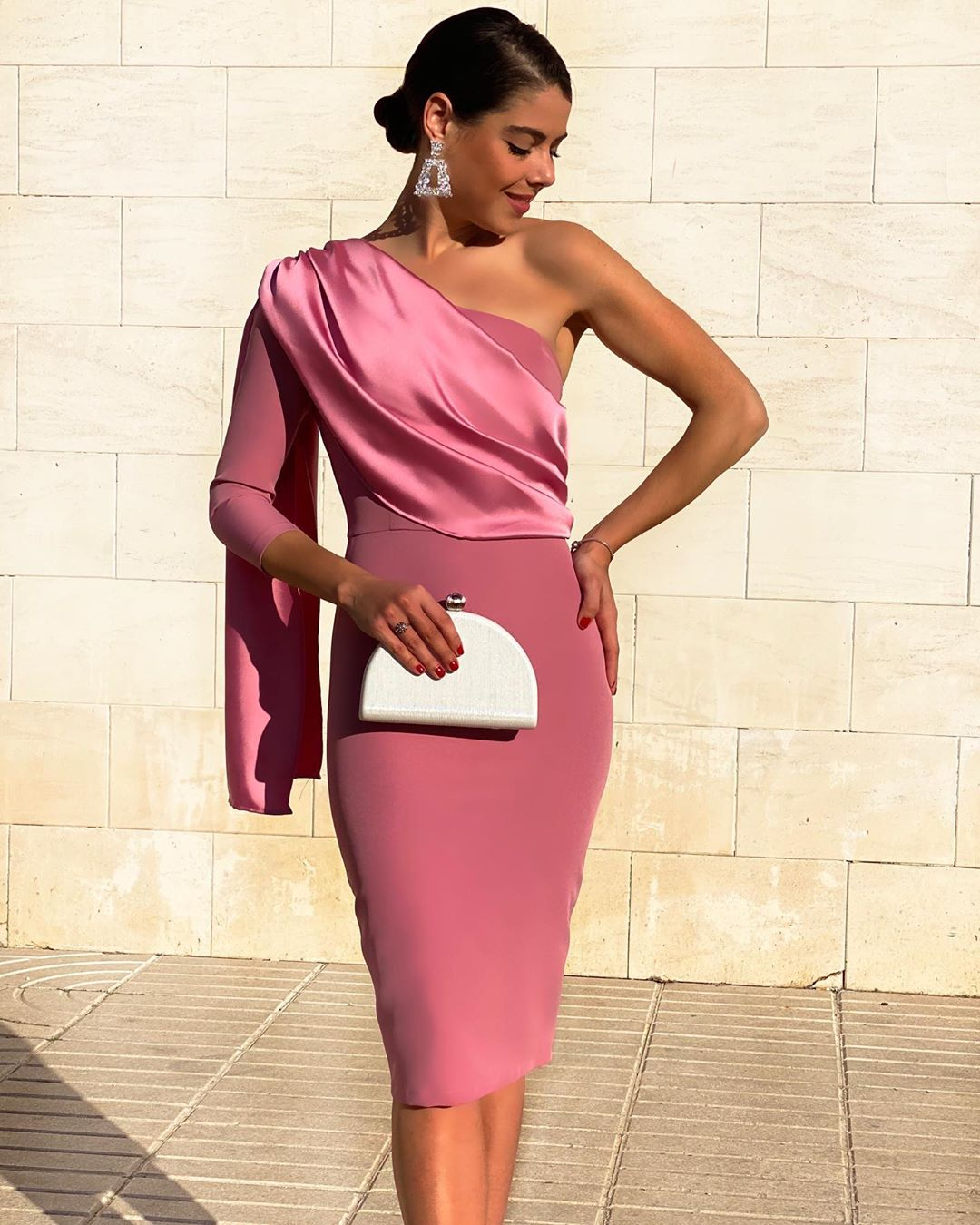 Long Sleeve Tea Length Short Cocktail Party Dress With Cape One Shoulder Women Plus Size 2020 Formal Sexy Prom Dresses