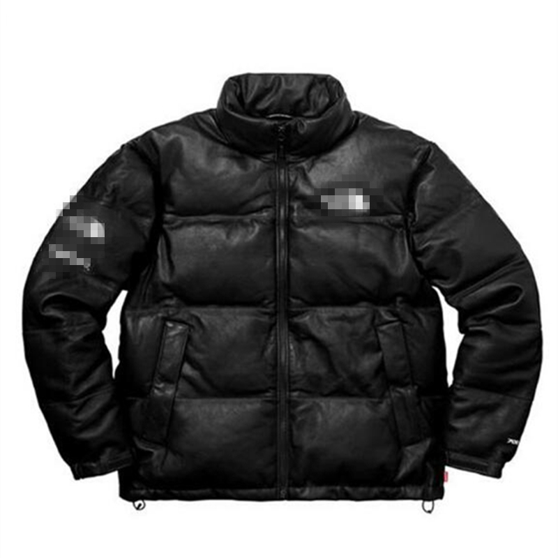 Hiver chaud hommes et femmes manteaux en cuir doudoune noir