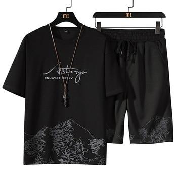 Men Sets White Fashion Hip Hop Tracksuits Male T Shirts Shorts Two Pieces Sports Tee Shirts Shorts Men's Track suit Oversize 4XL 2