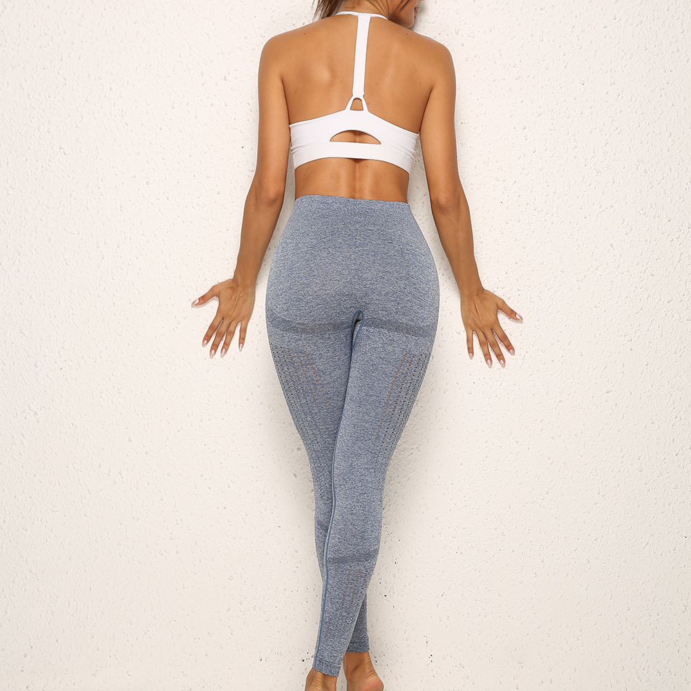 New Products Moisture Wicking Tight Sports Fitness Running Training Buttock Lifting Seamless Porous Hollow Out Base Yoga Pants W