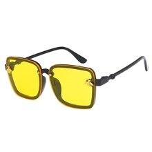 Новые Модные цветные линзы для мальчиков и девочек, большие квадратные солнцезащитные очки с украшением в виде пчелы, Детские крутые очки Uv400