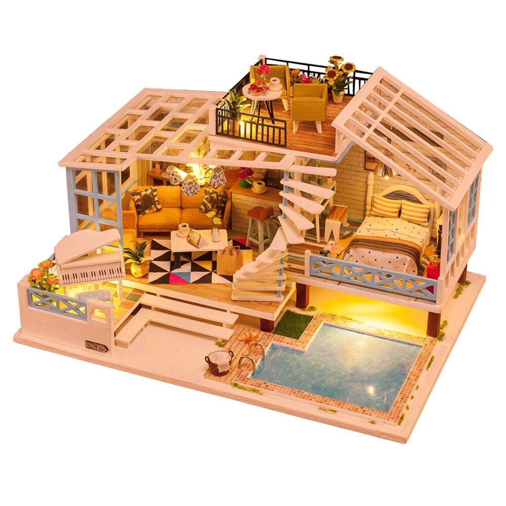 어린이 장난감 diy 인형 집 조립 목조 miniaturas 인형 집 가구 미니어처 인형 집 퍼즐 교육 완구 어린이를위한-에서인형 집부터 완구 & 취미 의  그룹 1