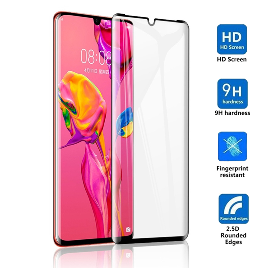 Tempered Glass For Huawei P30 Pro 3D FUll Coverage For Huawei P30pro Screen Protector smartphone Toughened Protective flim(China)