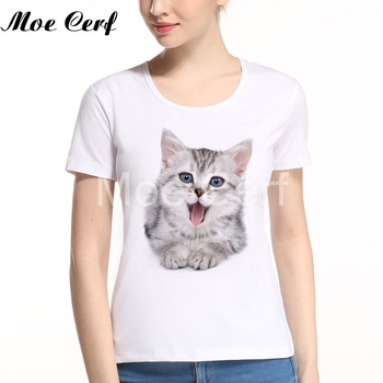 Cut 3D Cat Print t shirt Womens New Harajuku Brand Women Sweet Style T-shirt Hot Funny Unisex Girl Top Hipster Tees L11-184