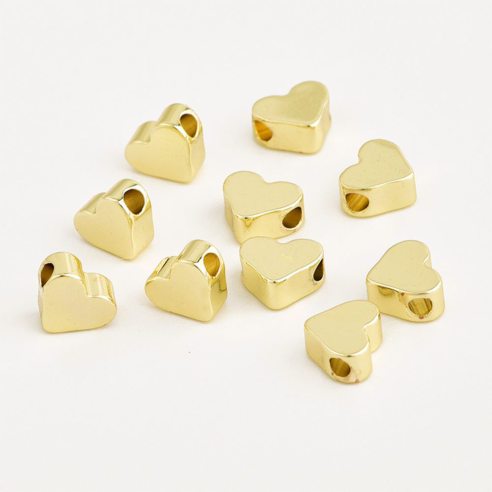 20PCS 5MM 24K Gold Color Plated Brass Heart Shape Spacer Beads Bracelet Beads High Quality Diy Jewelry Making Accessories