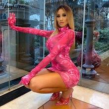 Hugcitar 2020 z długim rękawem kwiatowy print sexy bodycon mini sukienka z rękawiczkami letnie kobiety moda streetwear stroje sundress