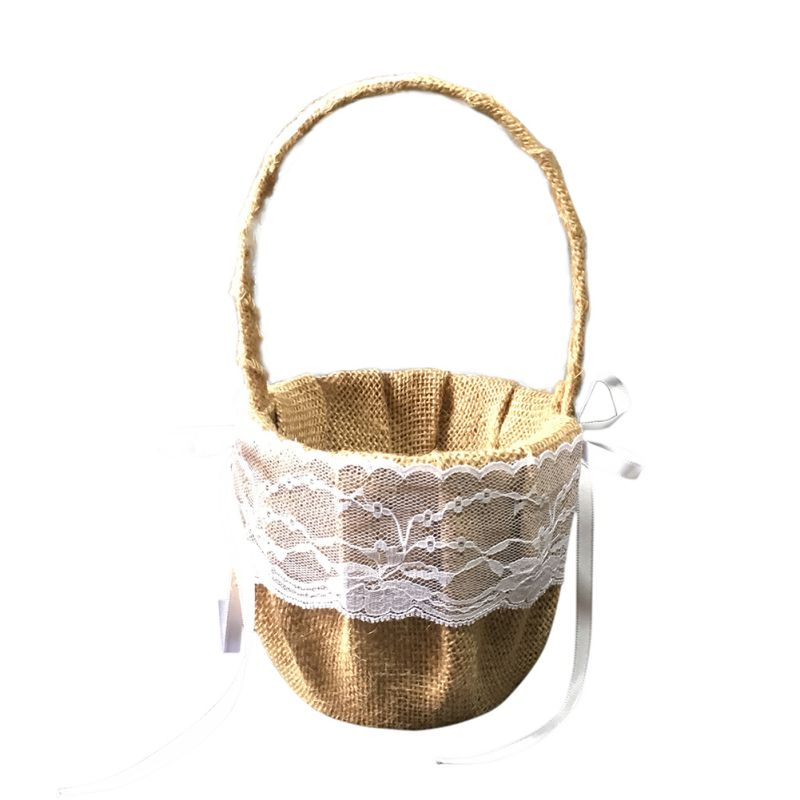 Свадебная Цветочная корзина с ручкой для винтажной цветочной корзины для Свадебная церемония, вечеринка QM8047 [ - Цвет: A
