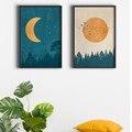 Abstrakte Boho Landschaft Bilder Mond Sonne Poster Und Drucke Vintage Wand Kunst Nordic Wald Leinwand Malerei Für Schlafzimmer Decor