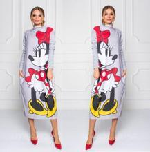 цены Cartoon Mickey Print Dress Women Long Sleeve Turtleneck Maxi Dresses 2019 Autumn Femme Casual Gray Loose Long Dress Plus Size