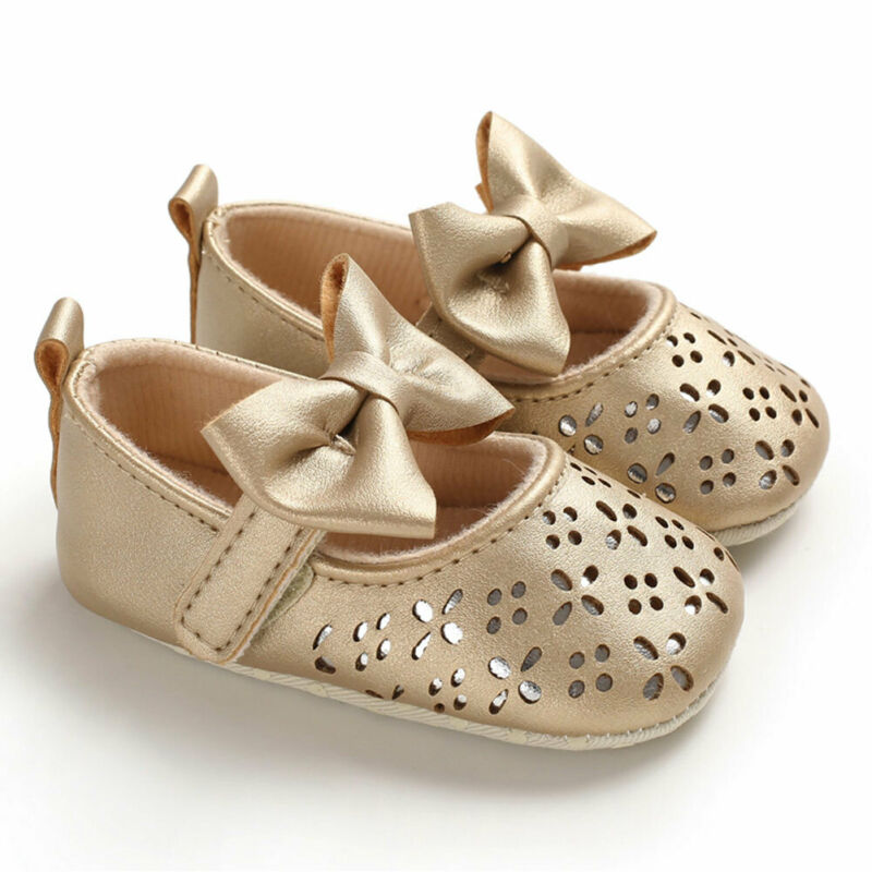 2018 Brand New Newborn Infant Baby Girl Princess Breathable Bow Flower Baby Shoes Soft Sneaker Solid Flower Bow First Walkers