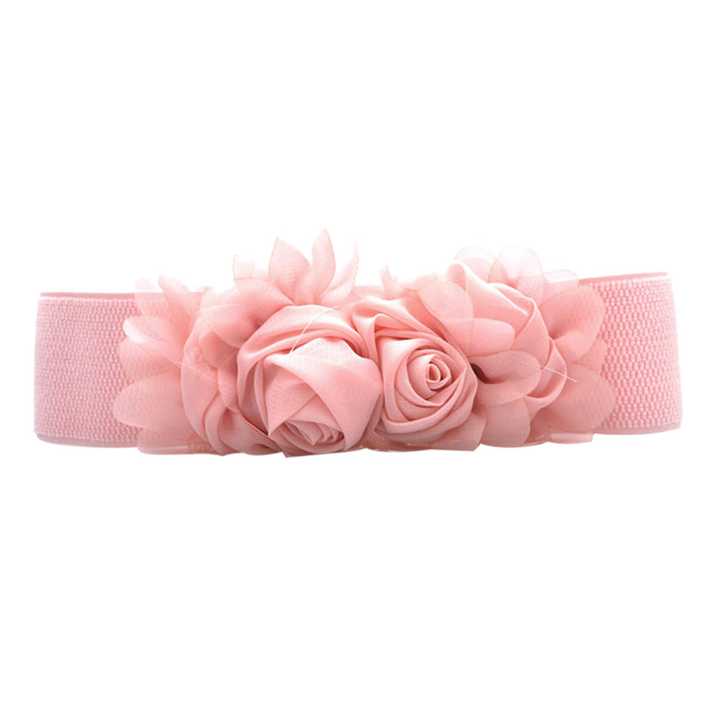 Jaycosin Fashion Women Chiffon Roses Elastic Belt High Quality  Business Elegant Solid Single-circle Casual Waist Belt