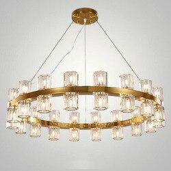 Willa amerykański salon K9 żyrandol kryształ Led okrągłe światło odcień żyrandol światła G4 Rod zawiesić oprawa oświetleniowa