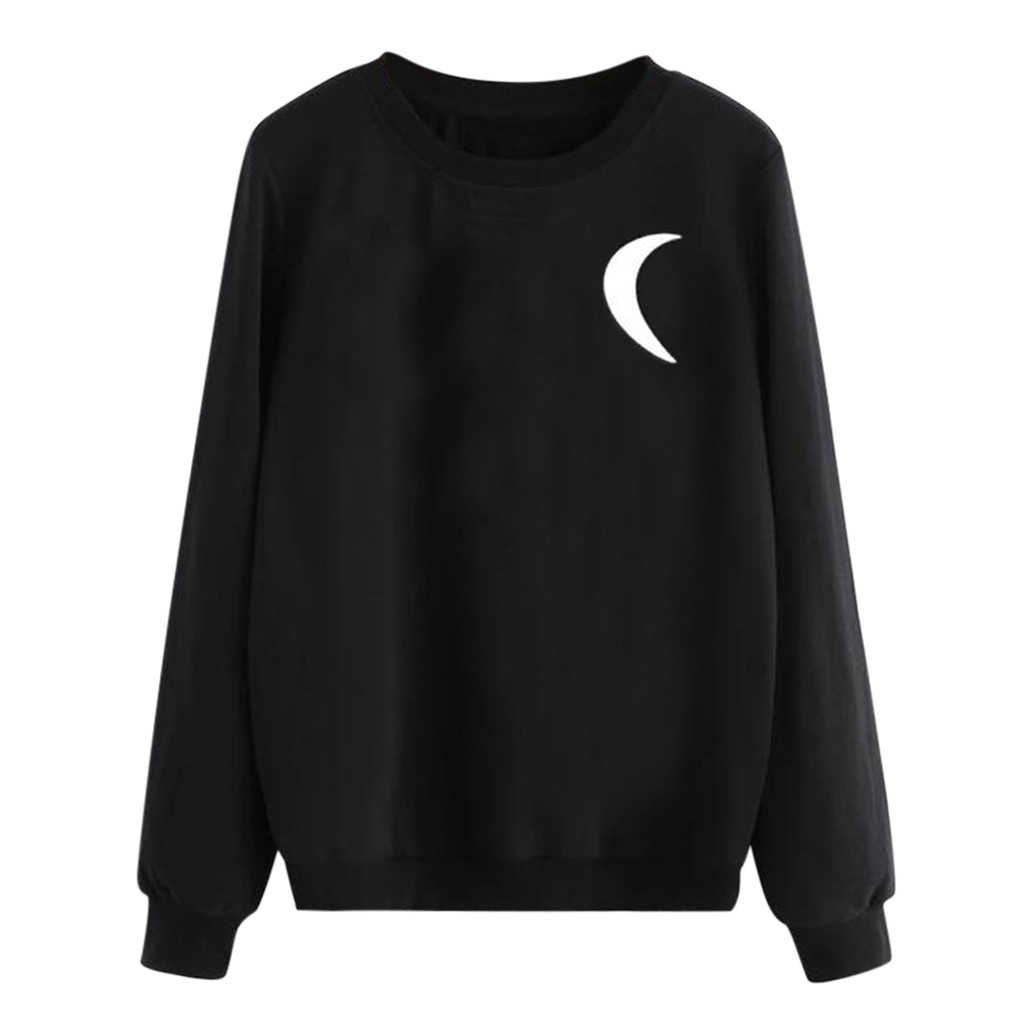 Women's Autumn Blouse Loose Punk Casual Sweatshirt female Long Sleeve O-Neck Moon Printed  Pullover Tops Spring Ladies Girls 802